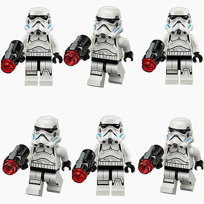 6pcs STAR WARS White Storm Trooper SW485 Soliders Blocks Minifigures Kids Toy