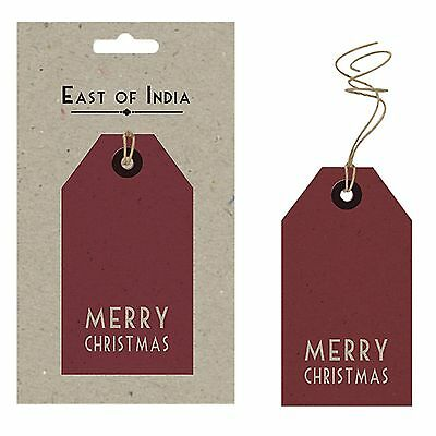 East of India Red Gift Tags Merry Christmas Pack of 6