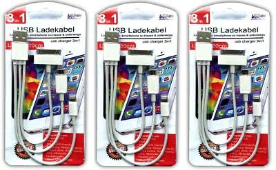 3x Ladekabel 3in1 micro USB l iPhone 4/5/6   Samsung S6 S5 S4 S3 HTC LG SONY