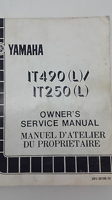 Yamaha Motorbike IT490(L) IT250(L) Factory Owner's service manual 1st ed., 1983