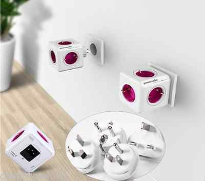 Allocacoc PowerCube Multiple Power Socket 4 Travel Plugs 5 Outlets Adapter