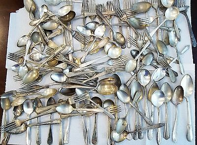 Antique & Vintage Silver Plated Flatware Mixed Lot 156pc Forks Spoons Knives