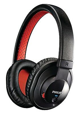 NEW Philips SHB7000/10 Bluetooth Stereo Headset Headphones Over-Ear Black / Red