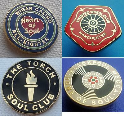 Northern Soul - 4 Badge Set 1 - Torch - Wigan Casino - Twisted Wheel - Mecca