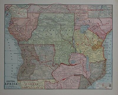 Original 1896 Map CENTRAL AFRICA Colonies British German French Congo Free State