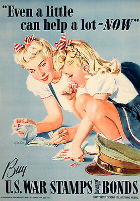 Original Vintage WWII Poster Even a Little Can Help a Lot - Now by A. Parker '42