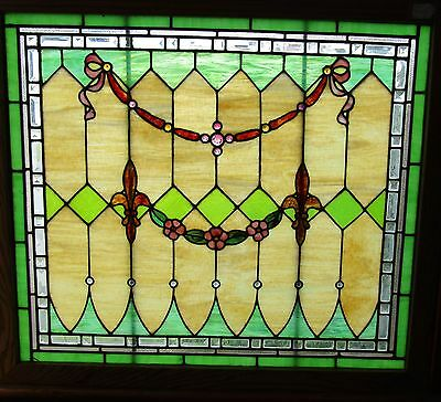Antique Stained Beveled And Jeweled Window