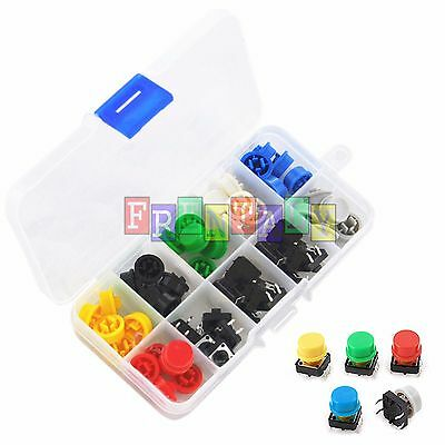 Tactile Push Button Switch Momentary Tact & Cap 12x12x7.3mm Assorted Kit Arduino