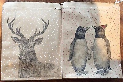 East of India Christmas Paper Gift Party Bags Vintage Counter Bag Penguins Stag