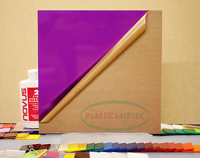 "Purple Translucent Acrylic Plexiglass sheet 1/16"" x 12"" x 12"" #2287"