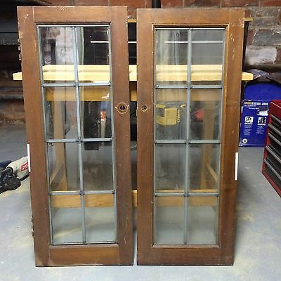 Antique Vintage Leaded Glass Window Cabinet Door 8 Pane Architectural Salvage