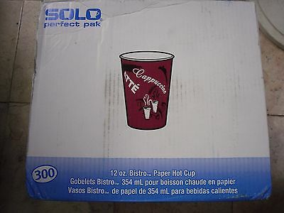 250PK SOLO Cup Company Bistro Design Hot Drink Cups Paper 12 oz