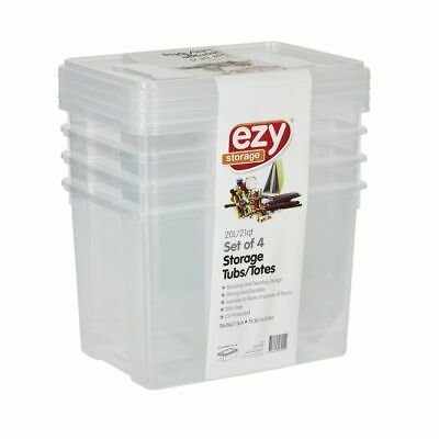 Ezy Storage 20L Storage Containers 4 Pack Clear