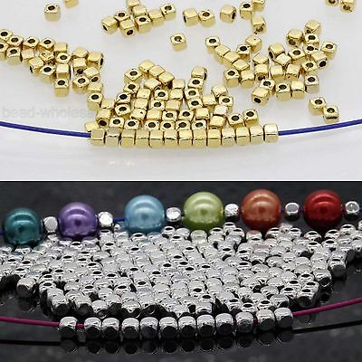 100/500pcs Cube Tibetan Silver Loose Spacer Beads Jewelry Findings 3.5x3mm