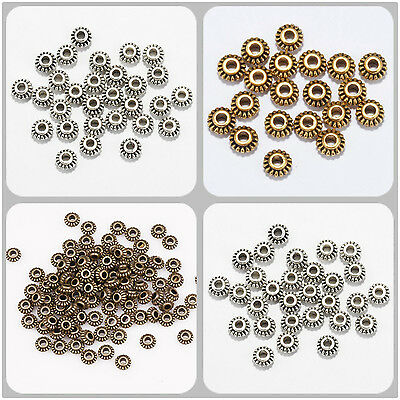 100pcs 6mm Wheel Gear Tibetan Silver Spacer Beads Findings For Jewelry