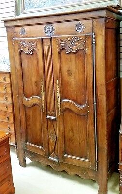 Antique French Walnut Double Door Armoire H 79''x W 52''x D 21'' Great Patina