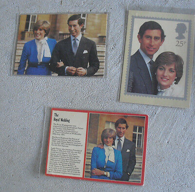 Lot of 3 Vintage 1981 Princess Diana Prince Chalres Wedding Unused Postcards