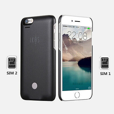 ikos Dual SIM Adapter Bluetooth Double Standby with Protect Case for iPhone 6 6s