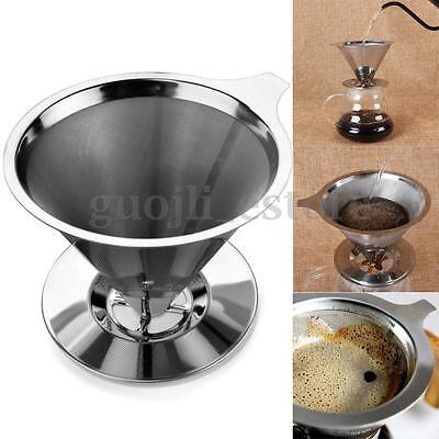 Stainless Steel Pour Over Dripper Coffee Double Layer Mesh Filter With Cup Stand