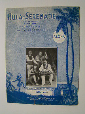 Hula Serenade by Honolulu Serenaders Hawaiian Sheet Music 1936