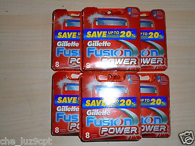 Gillette Fusion Power 6 Packs of 8 Cartridges(48 Razor Blades)RRP$276