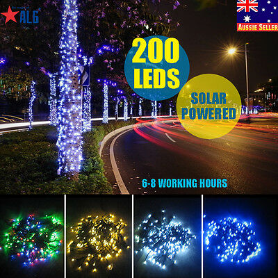 Solar Powered 200 LEDs String Fairy Tree Light Outdoor Wedding Party Xmas