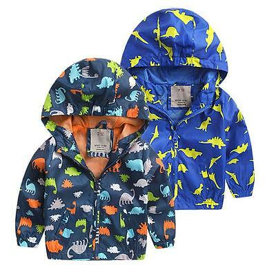Winter Baby Kids Boy Long Sleeve Animal Print Hooded Tops Jacket Coat Outerwear