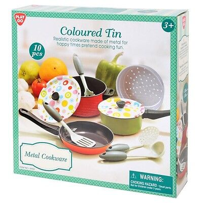 NEW Play Go Metal Cookware Coloured Tin from Mr Toys Toyworld
