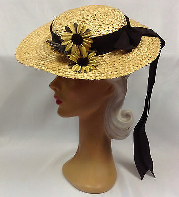 40s OTT Most Amazing Wide Brim Golden Straw Hat with Large Florals & Bow Feature