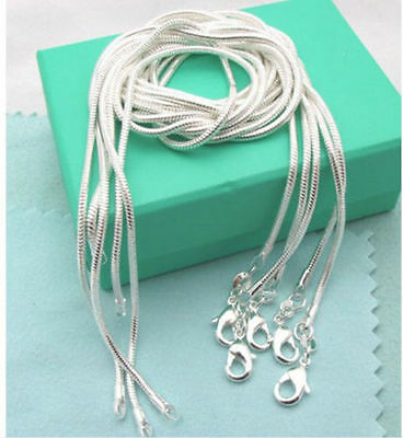 wholesale 925 Silver lots 5pcs 1mm snake chain Necklace 16-30inch