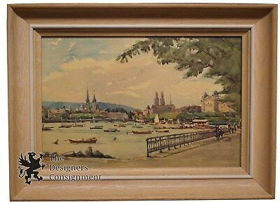 Stunning Vintage European City Waterscape Oil on Board Boats