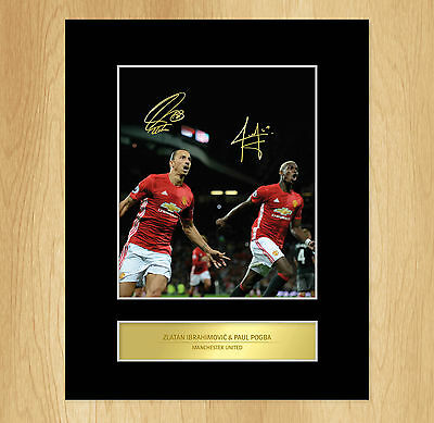 Paul Pogba Zlatan Ibrahimovic Signed Mounted Photo Display Manchester United