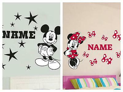 Disney Minnie & Micky Mouse Wall Art Sticker Decal With Personalised Name Gift