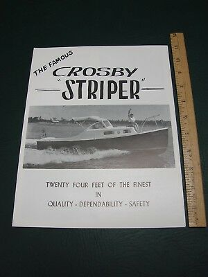 Crosby Striper Yacht Cape Cod Osterville MA Flyer Ad Price Guide 1958 ~Specs