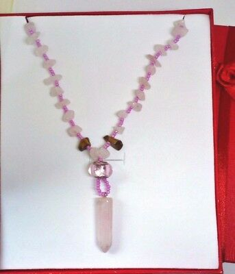 Rose Quartz Point Necklace, contains blessed by John of God Casa Crystal Gems