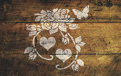 A4 Hearts Roses Butterfly Stencil Shabby Chic Furniture Fabric Vintage MYLAR