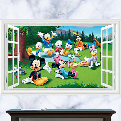 LARGE Mickey Mouse 3D Window View Decal Wall Sticker Home Art Mural Kids New