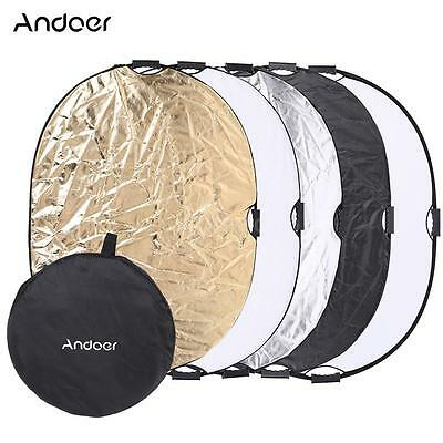 Andoer 90*120cm 5 in 1 Circular Photography Studio Video Light Reflector L3A3