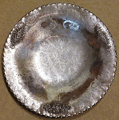 Continental Europe 800 Silver Repousse Grand Footed Charger/Platter 20th Century