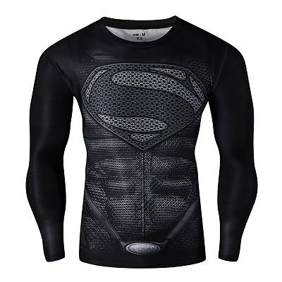 990ee68c6e Mens long sleeve compression top gym superhero avengers marvel muscle  superman