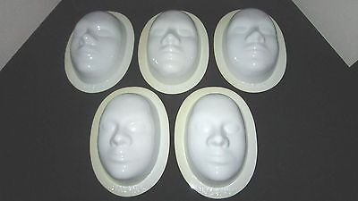 Vintage 1979 - Lot Of 5 White Plastic Face Masks, You Cut, Paint, Apply Make-Up