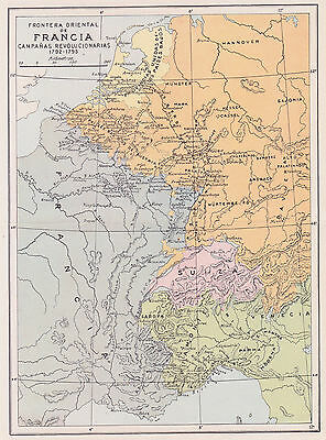 1956 Antique Map of Eastern France During the Revolution