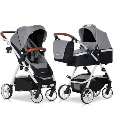 OPTIMO Grey Fox 2in1 Kombi Kinderwagen Buggy und Babywanne Komplettset