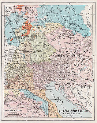 1957 Antique Map of Central Europe in 1866