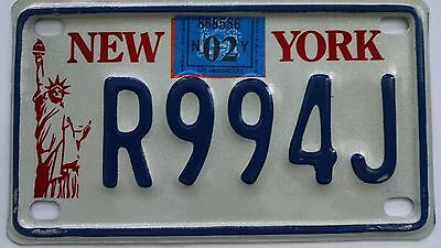 New York Motorcycle license plate - 2002 - Really nice!!