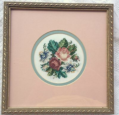 Floral/Rose cross stitch with pink mat/ gold frame, professionally framed (385)