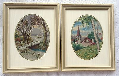 2 petit point lanscape pictures - Professionally framed/matted  (843)