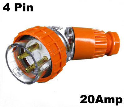 GEN3 20 AMP 3 Phase 4 Pin Round Angled Plug Top