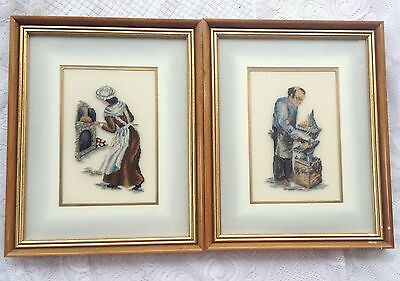 2 Colonial/Pioneer Couple Petit Point Black Smith/ Baking Bread (846)