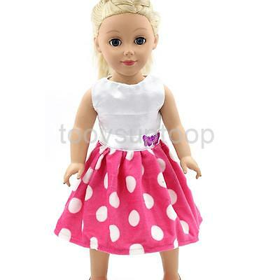 "Pink & White Ribbon Dress Fit for American Girl Our Generation Doll 18"" Gift"